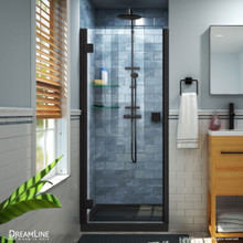DreamLine Lumen 34 in. D x 42 in. W by 74 3/4 in. H Hinged Shower Door in Satin Black with Black Acrylic Base Kit