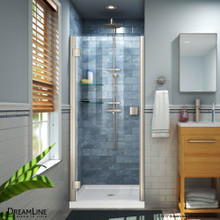DreamLine Lumen 42 in. D x 42 in. W by 74 3/4 in. H Hinged Shower Door in Brushed Nickel with White Acrylic Base Kit