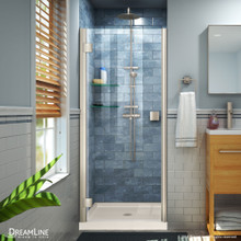 DreamLine Lumen 42 in. D x 42 in. W by 74 3/4 in. H Hinged Shower Door in Brushed Nickel with Biscuit Acrylic Base Kit
