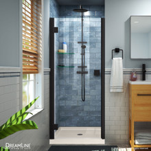 DreamLine Lumen 42 in. D x 42 in. W by 74 3/4 in. H Hinged Shower Door in Satin Black with Biscuit Acrylic Base Kit