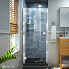 DreamLine Lumen 42 in. D x 42 in. W by 74 3/4 in. H Hinged Shower Door in Chrome with Black Acrylic Base Kit
