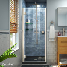 DreamLine Lumen 42 in. D x 42 in. W by 74 3/4 in. H Hinged Shower Door in Brushed Nickel with Black Acrylic Base Kit