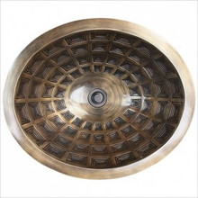 "Linkasink B036 AB Oval Pantheon Antique Bronze Drop in Undermount Lavatory or Vessel Sink 16.5"" X 13.5"" X 6"" Id"
