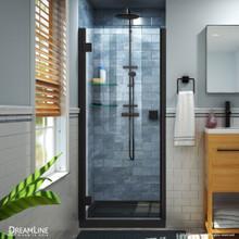 DreamLine Lumen 42 in. D x 42 in. W by 74 3/4 in. H Hinged Shower Door in Satin Black with Black Acrylic Base Kit