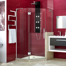 DreamLine Prism Plus 40 in. x 72 in. Frameless Neo-Angle Hinged Shower Enclosure with Half Panel in Chrome