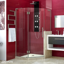 DreamLine Prism Plus 40 in. x 72 in. Frameless Neo-Angle Hinged Shower Enclosure with Half Panel in Brushed Nickel