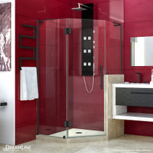 DreamLine Prism Plus 40 in. x 72 in. Frameless Neo-Angle Hinged Shower Enclosure with Half Panel in Satin Black
