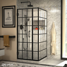 DreamLine Unidoor Toulon 34 in. D x 34 in. W x 72 in. H Frameless Hinged Shower Enclosure in Satin Black