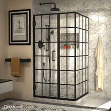 DreamLine Unidoor Toulon 34 in. D x 40 in. W x 72 in. H Frameless Hinged Shower Enclosure in Satin Black