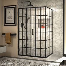 DreamLine Unidoor Toulon 34 in. D x 46 in. W x 72 in. H Frameless Hinged Shower Enclosure in Satin Black