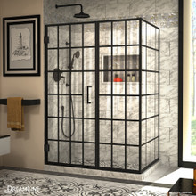 DreamLine Unidoor Toulon 34 in. D x 52 in. W x 72 in. H Frameless Hinged Shower Enclosure in Satin Black