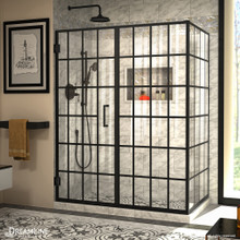 DreamLine Unidoor Toulon 34 in. D x 58 in. W x 72 in. H Frameless Hinged Shower Enclosure in Satin Black