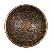 """Linkasink B027 WB Small Round Brocade Bowl Drop in Sink Or Vessel 14"""" X 6.5"""" Od White Bronze"""