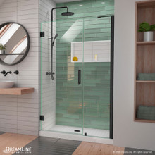 DreamLine Unidoor-LS 42-43 in. W x 72 in. H Frameless Hinged Shower Door in Satin Black