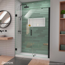 DreamLine Unidoor-LS 49-50 in. W x 72 in. H Frameless Hinged Shower Door in Satin Black