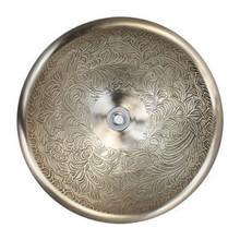 "Linkasink B025 WB Small Round Botanica Bowl Drop in Lavatory or Vessel Sink White Bronze  14"" X 6.5"" Od"