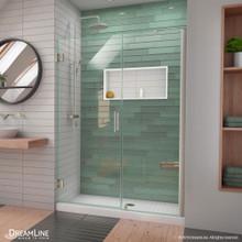 DreamLine Unidoor-LS 48-49 in. W x 72 in. H Frameless Hinged Shower Door with L-Bar in Brushed Nickel