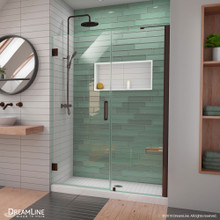 DreamLine Unidoor-LS 48-49 in. W x 72 in. H Frameless Hinged Shower Door with L-Bar in Oil Rubbed Bronze