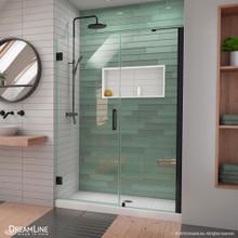 DreamLine Unidoor-LS 48-49 in. W x 72 in. H Frameless Hinged Shower Door with L-Bar in Satin Black