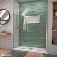 DreamLine Unidoor-LS 56-57 in. W x 72 in. H Frameless Hinged Shower Door with L-Bar in Brushed Nickel