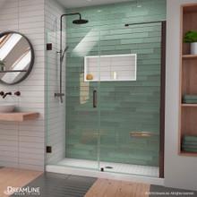 DreamLine Unidoor-LS 56-57 in. W x 72 in. H Frameless Hinged Shower Door with L-Bar in Oil Rubbed Bronze