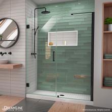 DreamLine Unidoor-LS 56-57 in. W x 72 in. H Frameless Hinged Shower Door with L-Bar in Satin Black