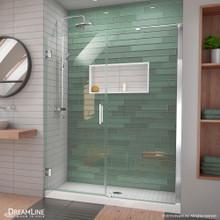 DreamLine Unidoor-LS 60-61 in. W x 72 in. H Frameless Hinged Shower Door with L-Bar in Chrome