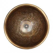 "Linkasink B025 AB Small Round Botanical Bowl Drop in Lavatory or Vessel Sink Antique Bronze  14"" X 6.5"" Od"
