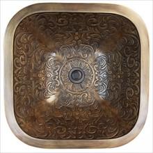 Linkasink B021 WB Square Brocade White Bronze Drop in / Undermount Lavatory or Vessel Sink 16 X 16 X 6 Od