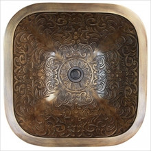 Linkasink B021 AB Square Brocade Antique Bronze Drop in / Undermount Lavatory or Vessel Sink 16 X 16 X 6 Od