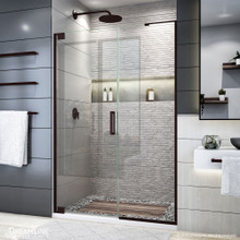 DreamLine Elegance Plus 46-46 3/4 in. W x 72 in. H Frameless Pivot Shower Door in Oil Rubbed Bronze