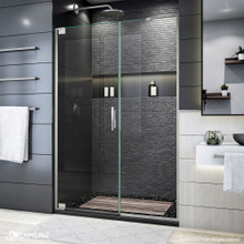 DreamLine Elegance Plus 51 3/4 -52 1/2 in. W x 72 in. H Frameless Pivot Shower Door in Brushed Nickel