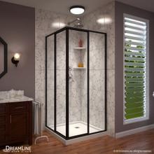 DreamLine Cornerview 42 in. D x 42 in. W x 74 3/4 in. H Framed Sliding Shower Enclosure and Shower Base Kit in Satin Black