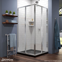 DreamLine Cornerview 42 in. D x 42 in. W x 74 3/4 in. H Framed Sliding Shower Enclosure in Chrome with Black Acrylic Base Kit