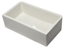 "ALFI 33"" Biscuit Smooth Apron Solid Thick Wall Fireclay Single Bowl Farm Sink"