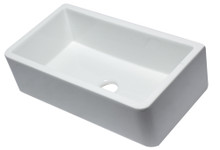 "ALFI 33"" White Smooth Apron Solid Thick Wall Fireclay Single Bowl Farm Sink"