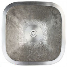 Linkasink B019 WB Square Botanical White Bronze Drop in / Undermount Lavatory or Vessel Sink 16 X 16 X 7 Od