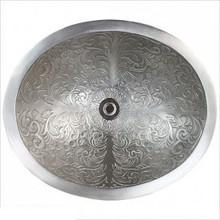 "Linkasink B018 WB Oval Brocade White Bronze Drop in / Undermount Lavatory or Vessel Sink 16.5"" X 13.5"" X 6"""