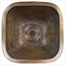 Linkasink B019 AB Square Botanical Antique Bronze Drop in / Undermount Lavatory or Vessel Sink 16 X 16 X 7 Od