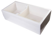 "ALFI AB3618DB-B 36"" Biscuit Smooth Apron Thick Wall Fireclay Double Bowl Farm Sink"