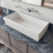"ALFI AB36TR 36"" White Above Mount Fireclay Bath Trough Sink"