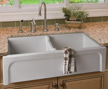 """ALFI AB3918ARCH-W 39"""" White Arched Apron Thick Wall Fireclay Double Bowl Farm Sink"""