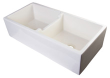 "ALFI AB3918DB-B 39"" Biscuit Smooth Apron Thick Wall Fireclay Double Bowl Farm Sink"