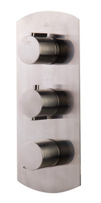 ALFI AB4101-BN Brushed Nickel Concealed 4-Way Thermostatic Valve Shower Mixer /w Round Knobs