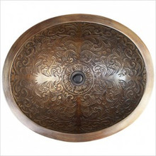 "Linkasink B018 AB Oval Brocade Antique Bronze Drop in / Undermount Lavatory or Vessel Sink 16.5"" X 13.5"" X 6"" Id"
