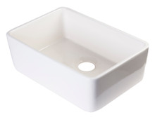 "ALFI AB503-B Biscuit 23"" Smooth Apron Fireclay Single Bowl Farmhouse Kitchen Sink"