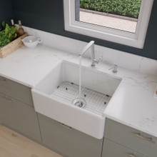 "ALFI AB505-W White 26"" Contemporary Smooth Apron Fireclay Farmhouse Kitchen Sink"