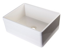 "ALFI AB506-B Biscuit 26"" Decorative Lip Apron Single Bowl Fireclay Farmhouse Kitchen Sink"