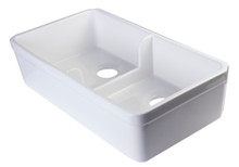 "ALFI AB5123-W White 32"" Short Wall Double Bowl Lip Apron Fireclay Farmhouse Kitchen Sink"