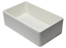 "ALFI AB532-B 33"" Biscuit Single Bowl Fluted Apron Fireclay Farm Sink"